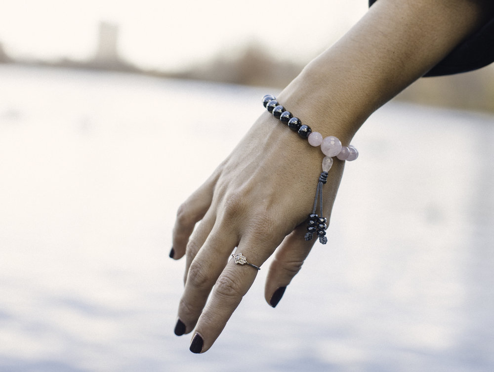 Wearing the rose quartz and hermatite wrist mala beads. Photography by  Francisco Graciano .