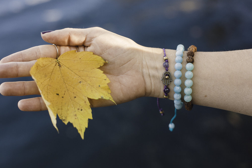 Wearing the rudraksha and amazonite as well as the amazonite wrist malas with my Hamsa bracelet from Mexico. Photography by  Francisco Graciano .