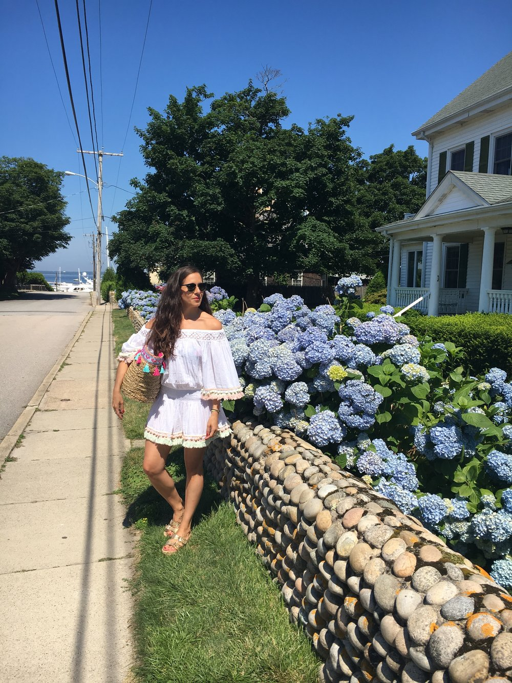 In Watch Hill, RI recently at the beach and around town in my Positano dress and bag,  Aldo  sandals and  Ray Ban  sunglasses.