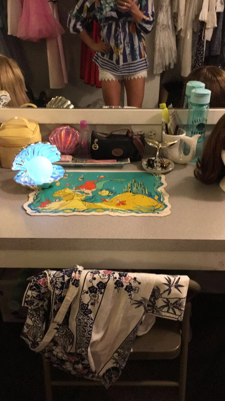 Backstage of this Summer's production of West Side Story where I was dance captain and Rosalia of the sharks. My station featured mermaid accessories! Details below.