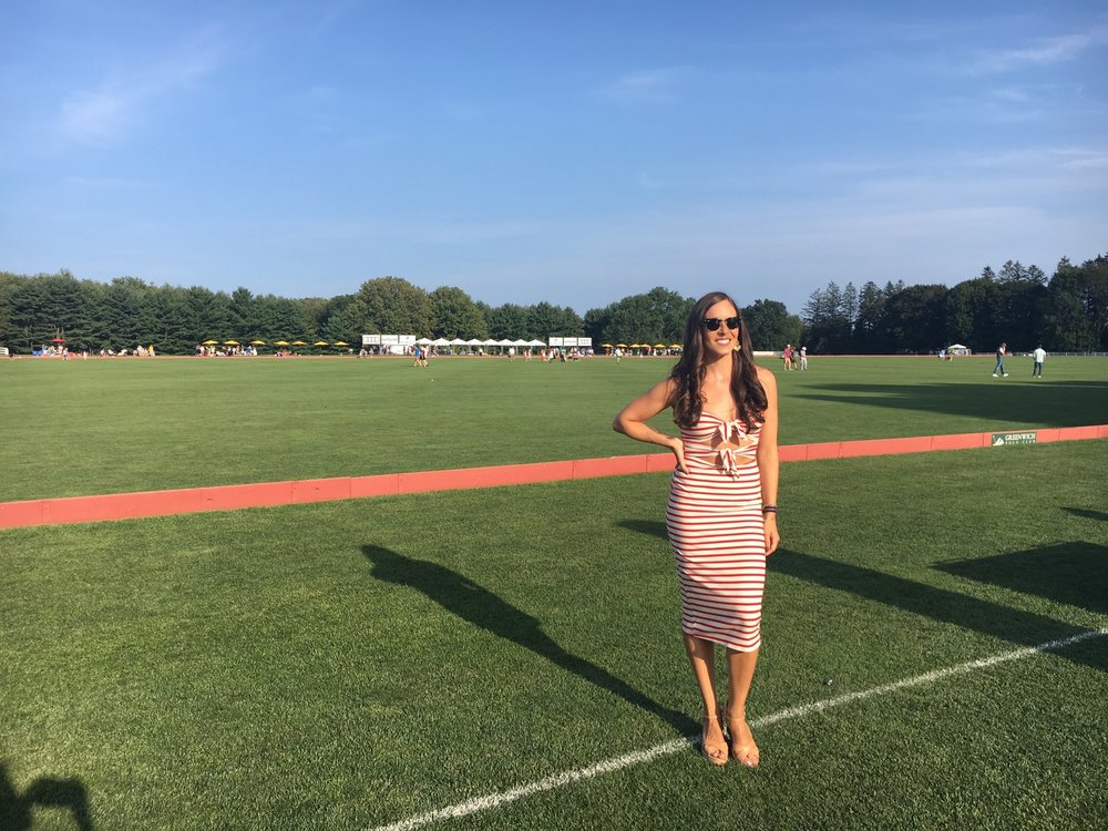 "At the Greenwich, CT Polo Club in the Audi VIP tent, wearing  Reformation  ""Ibiza dress"" and  Arezzo  wedges from Brazil."