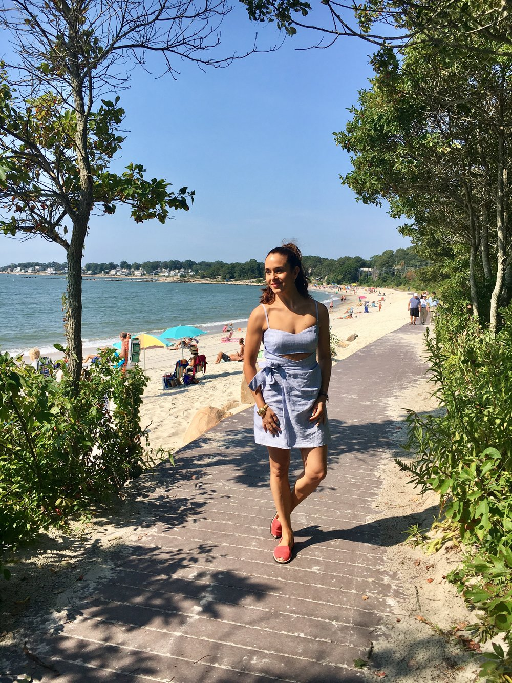 "In my Reformation ""playa dress"" (now on sale!) & Mallorca sandals on Labor Day at the beach in CT."