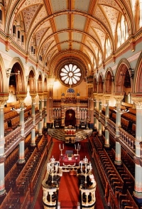 The stunning interior of Princes Road synagogue, the home of the Liverpool Old Hebrew Congregation since 1874 (Photo courtesy of Peter Williams at English Heritage)