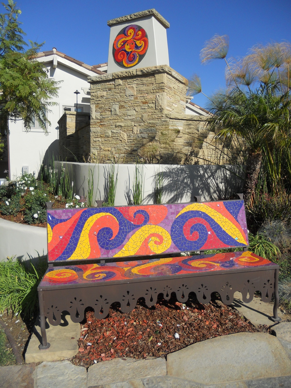Ginni the Swirling Sun  and Swirling bench