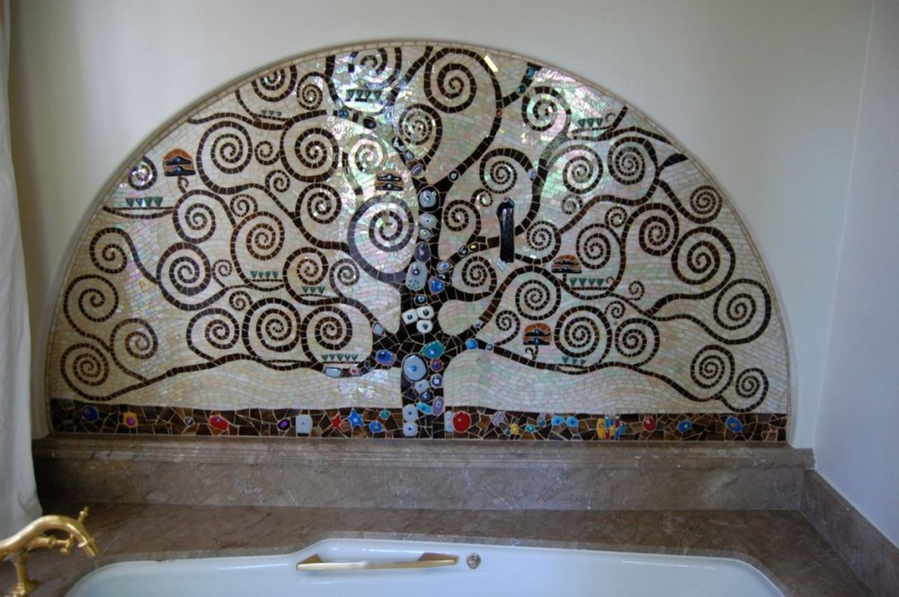 Tree of Life.  2012  Cement board, stained glass, glass fusions & millefiori.  22 sq. ft.