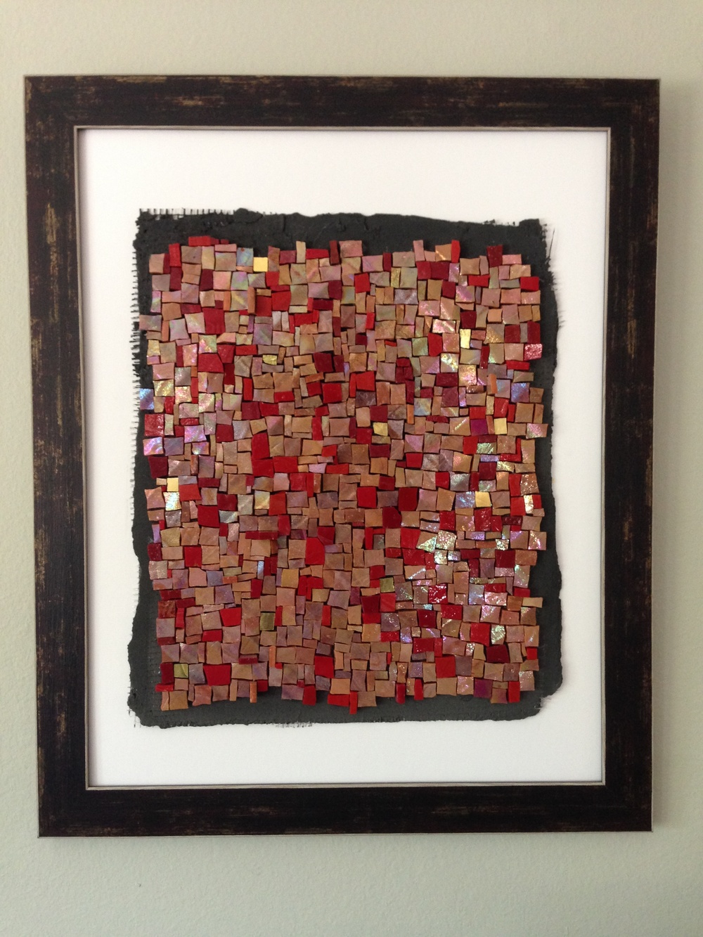Mexican Blanket.    2014  Hand crafted substrate with tinted mortar with Mexican smalti & gold.