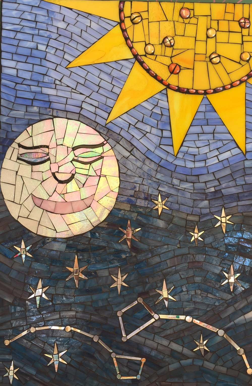 Over the Moon 2015  Stained glass and cement grout.  On Wedi board.