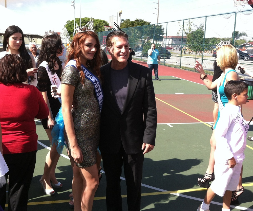 Carlos Hernandez Hialeah's Mayor and Melanie Dorta Miss Miami Tropic Teen 2013 during the Jose Marti celebrations.