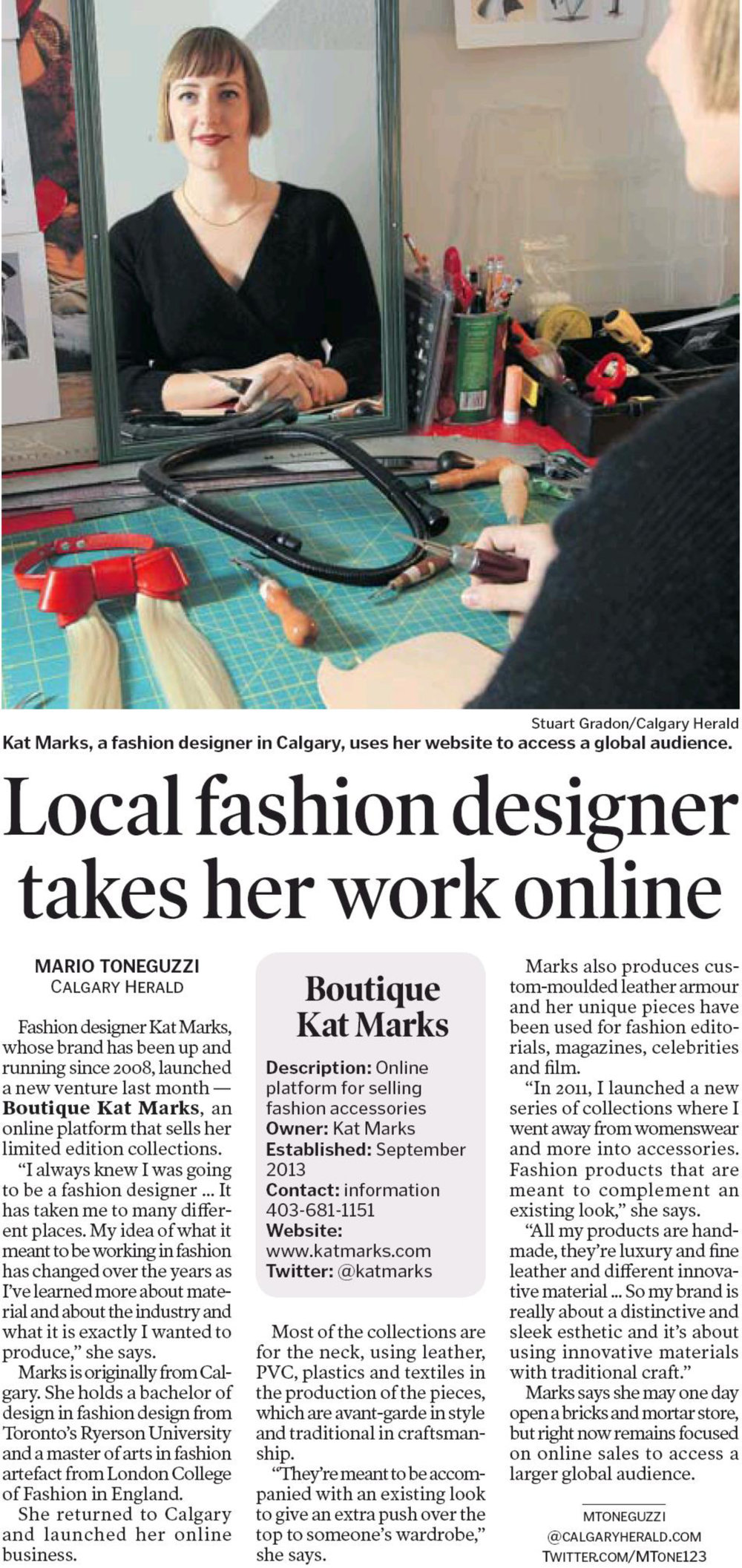 Calgary Herald ePaper - Local fashion designer takes her work online - 15 Oct 2013 - Page #28.jpg
