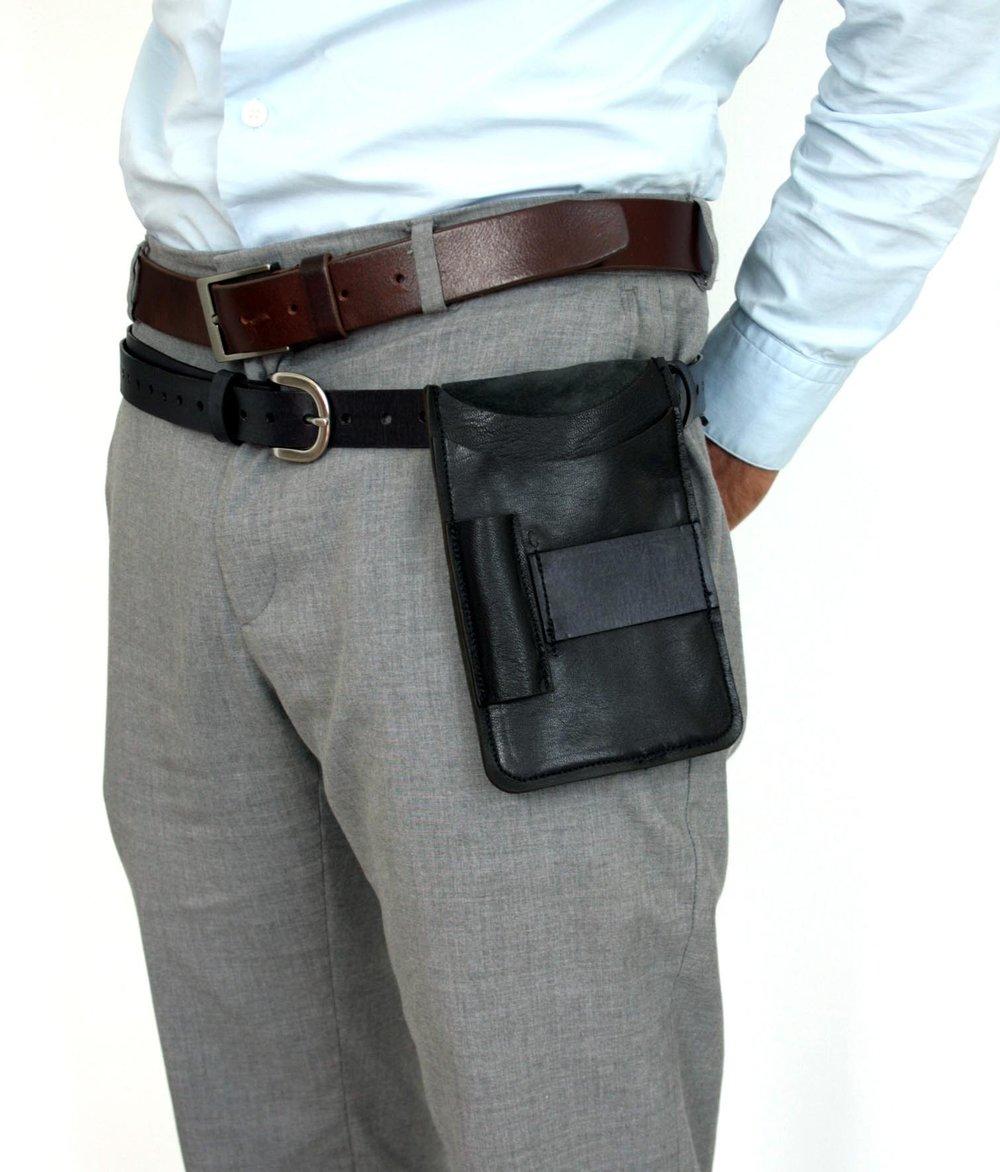 Black leather waist holster