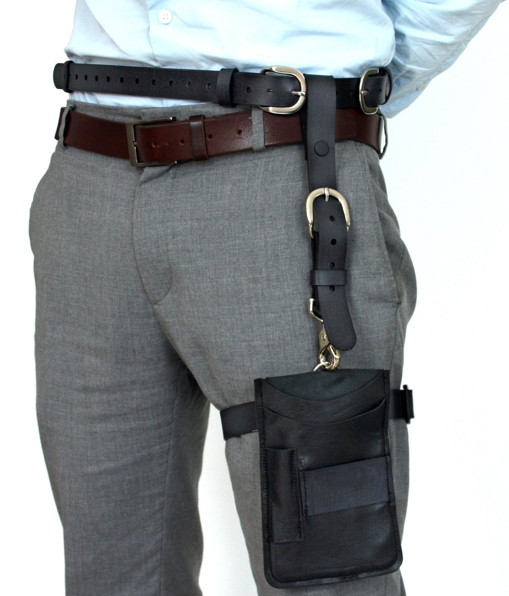 Black leather thigh holster