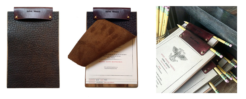 Leather clipboard-style menus