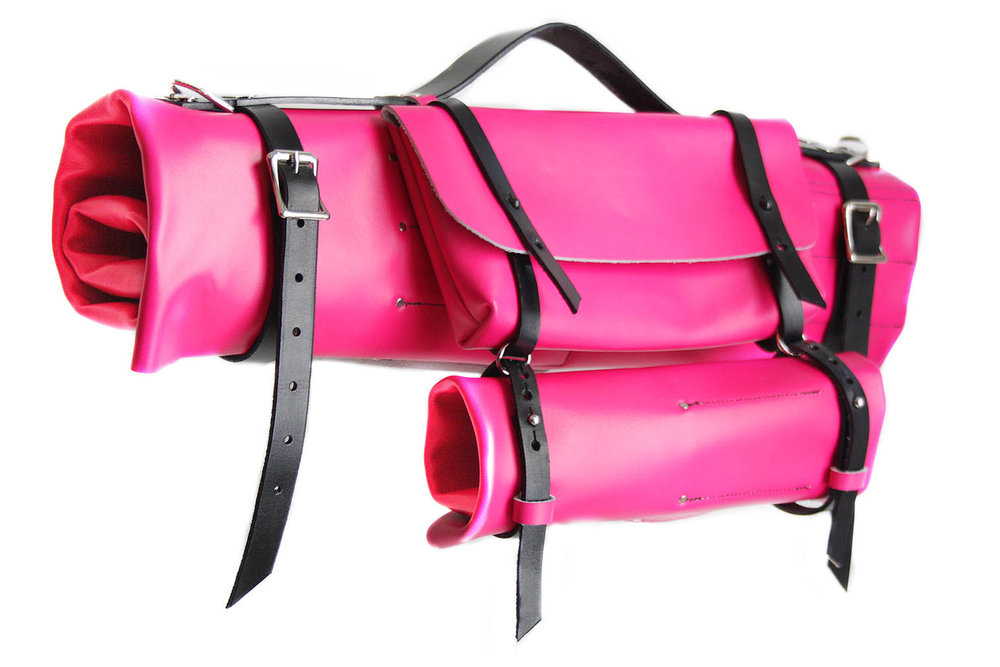 Leather knife keep-all bag with add-on sections in pink