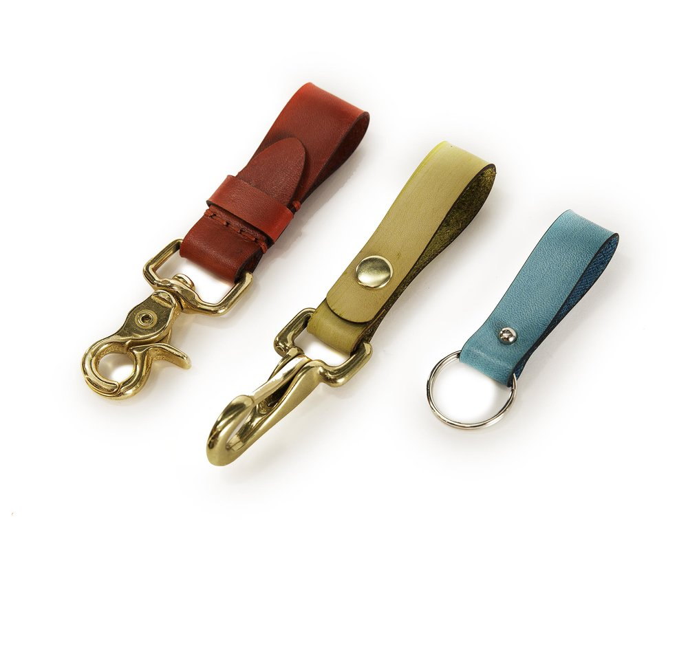 Branded leather key clips