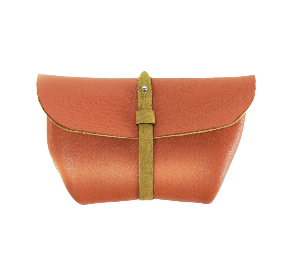 Leather bowl-style clutch