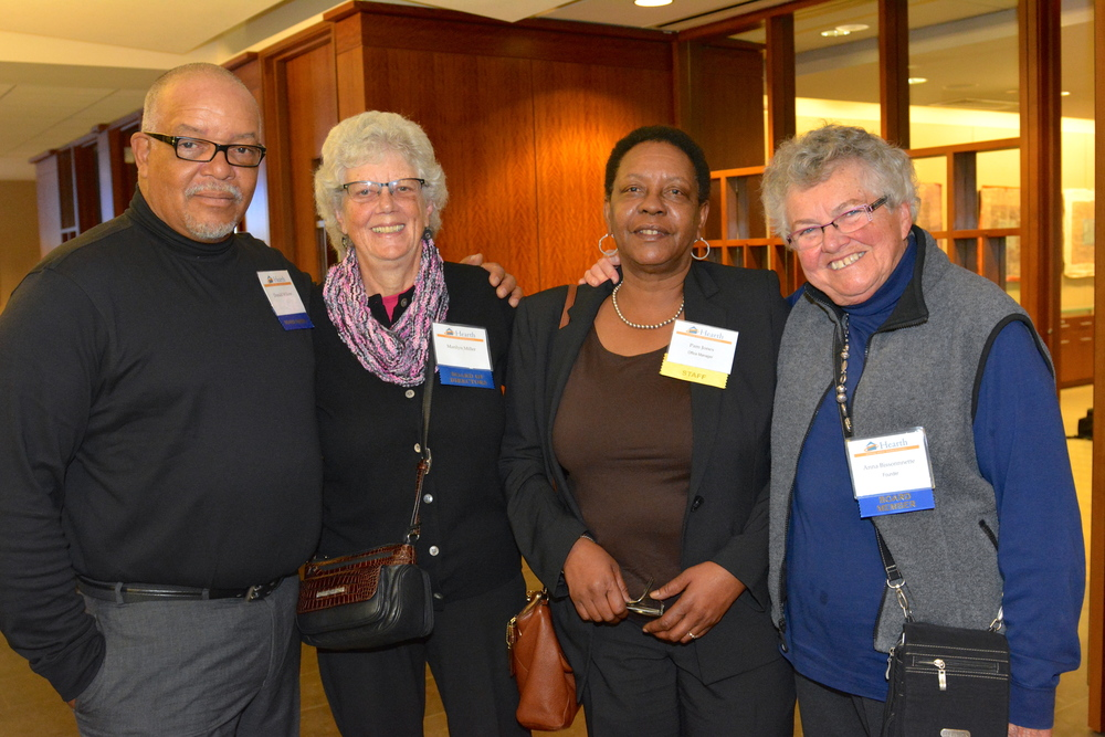 (left to right) Hearth Board Members Ray Walden and Marilyn Miller, Hearth Officer Manager Pam Jones, and Hearth Board Member/Founder Anna Bissonnette.