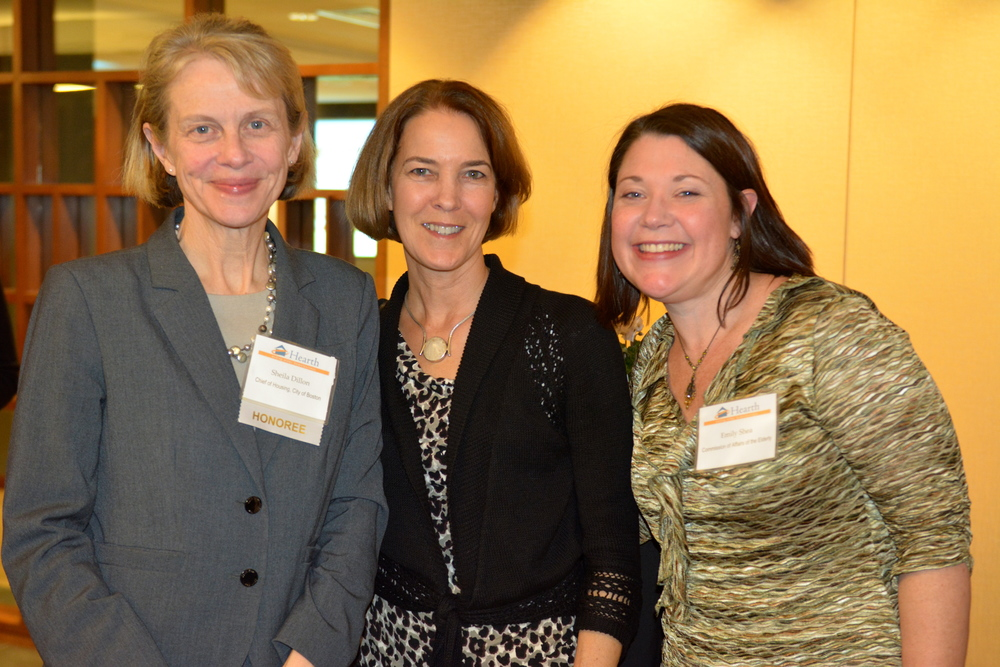 Sheila Dillon (left) with Lisa Alberghini from the Planning Office of Urban Affairs and Emily Shea, City of Boston's Commissioner of Elderly Affairs