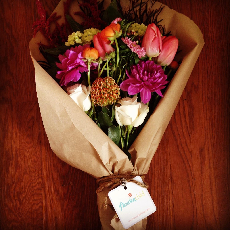 brown-paper wrapped bouquet — flowerchild flowers