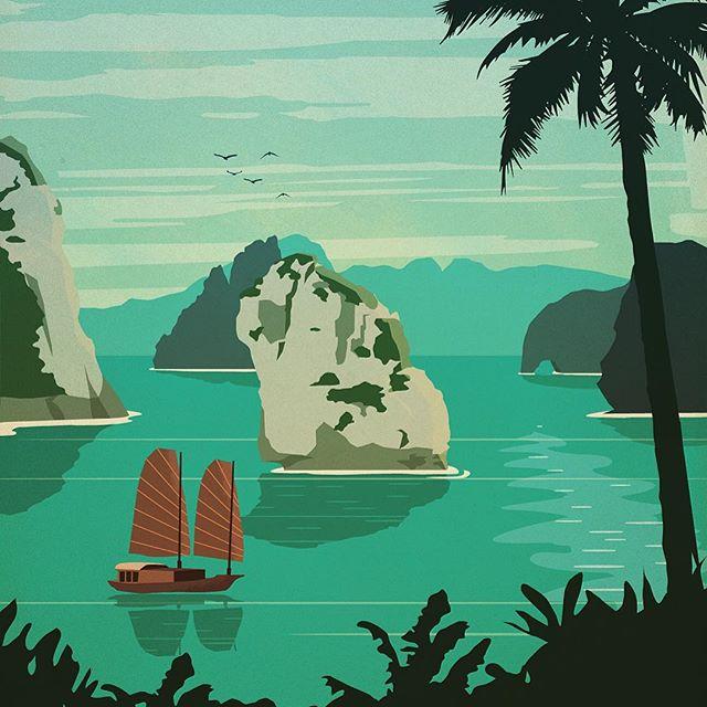 Places I'd rather be, Ha Long Bay - Vietnam #vietnam #halongbay #design #illustration #illustree #thedesigntip #thevectorproject #vector #travel #travelposter #decor #asia #boat #bucketlist #landmark #art #explore #bay #mountains #adobe #worldtraveler #vietnamese #travelgram #landscape #wanderlust #palmtrees #paradise #nature #color
