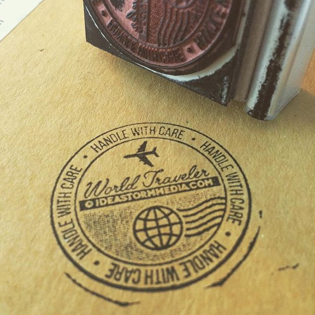 Stamp is in and orders are heading out! #tbt #stamp #design #vector #rubberstamp #plane #globe #worldtraveler #branding #illustration #illustree #thedesigntip #handlewithcare #shipping #travel #postcard #vintage #retro #clean #halftone #explore #freelance #smallbusiness #vacation #icon #minimal #custommade #miami