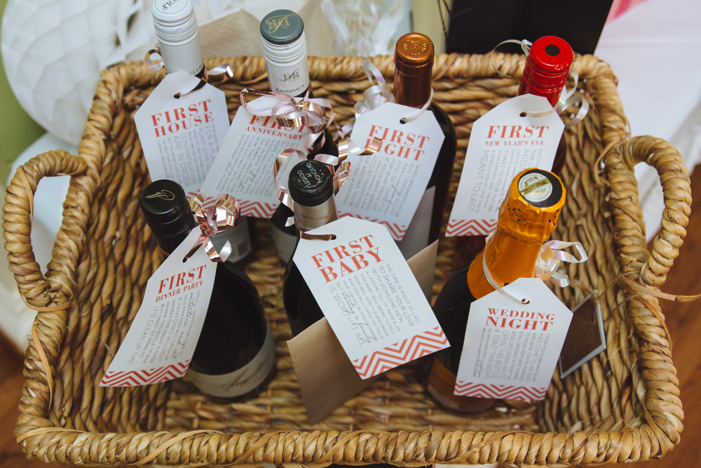 One of our favorite gift ideas from the shower, a basket filled with bottles of wine for each milestone.