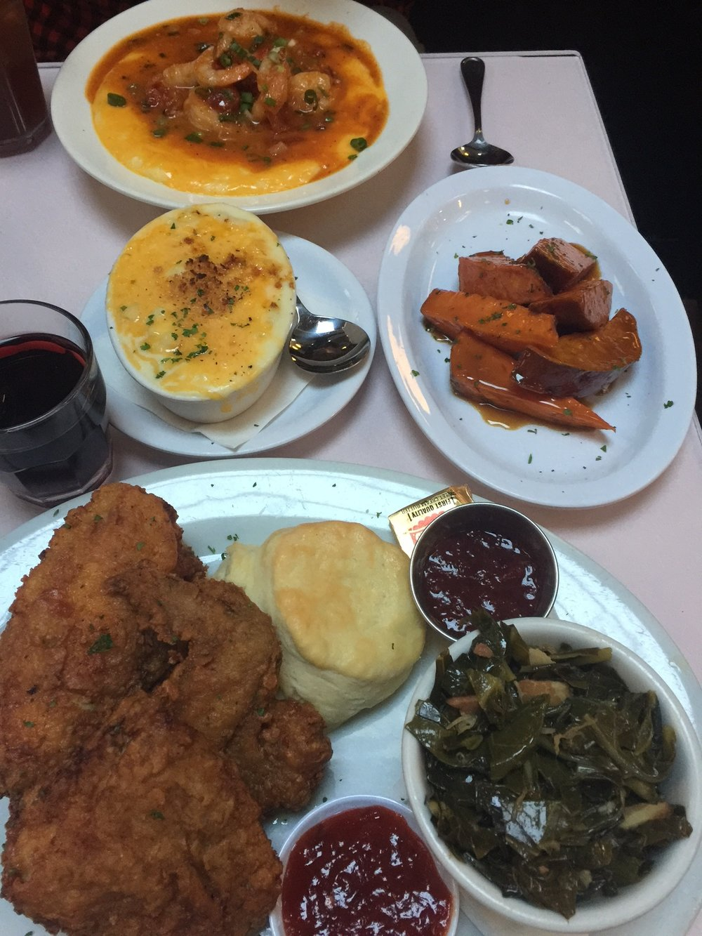 Brenda's Fried Chicken, mac and cheese, candied yams and shrimp and grits