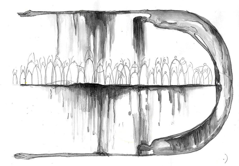 Concepto plástico: Tinta china | Descenso: Hombres. Sin naturaleza. Sin arquitectura. Sin memoria.