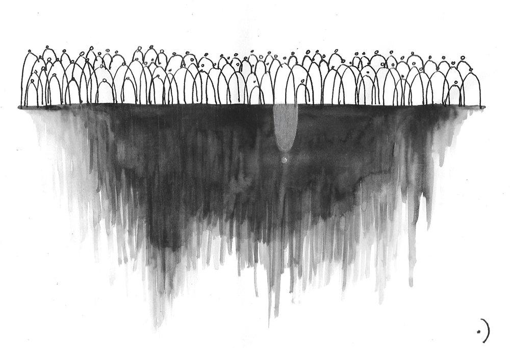Concepto plástico: Acuarela y tinta china | La muerte es naturaleza y debemos estar amenos a ella tanto como un árbol detrás de un cristal contenido en nuestras viviendas.