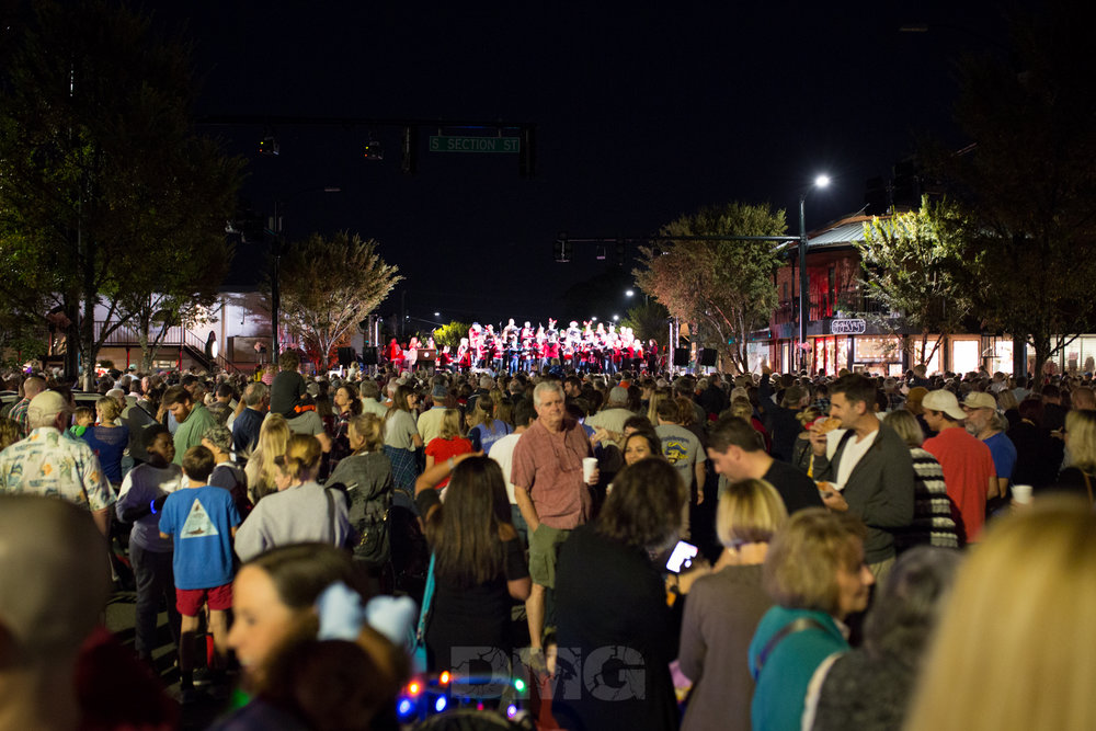 Thousands gather at the corner of Fairhope Avenue and Section Street.