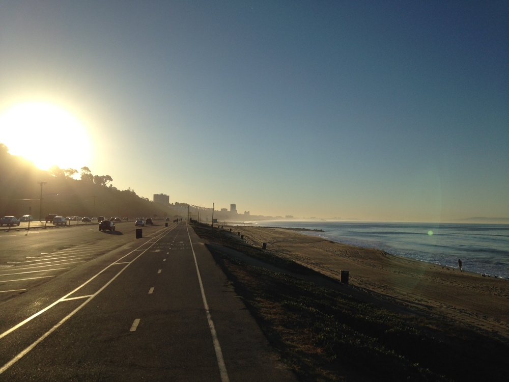 I took this today just after sunrise near Santa Monica Pier on an easy recovery ride. My brain will look like this on Sunday.