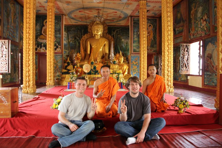 Student missionaries had an opportunity to talk to Buddhist monks while on a trip to Thailand in 2013.