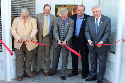 Photo Courtesy of North Greenville University  Dr. Jimmy Epting cuts the ribbon to open the new location of Ameris Bank on the campus of North Greenville University.