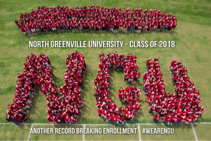 Photo Courtesy of North Grenville University  The record-breaking class of 2018 at North Greenville University poses for a picture during orientation week.