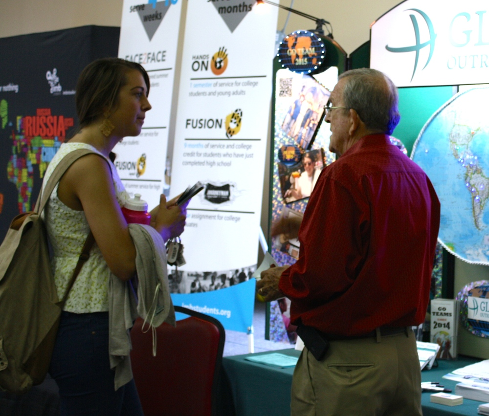 A student inquires about mission opportunities during NGU's global missions week September 8-10.