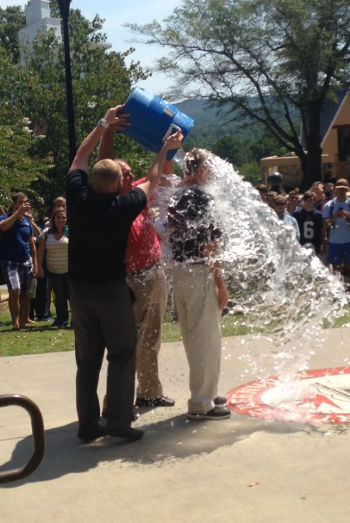 President Jimmy Epting accepts the ALS Ice Bucket Challenge in front of the Todd Dining Hall on August 21, 2014.
