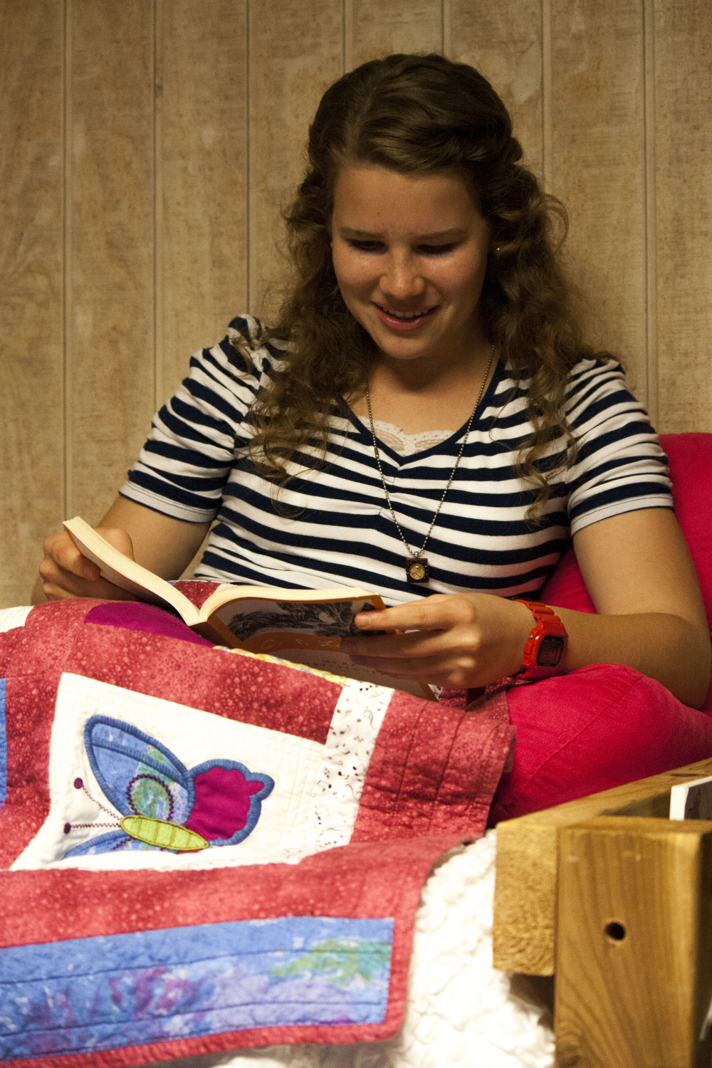 Marianne Woodard, sophomore, enjoys sitting down to read a book during her free time.