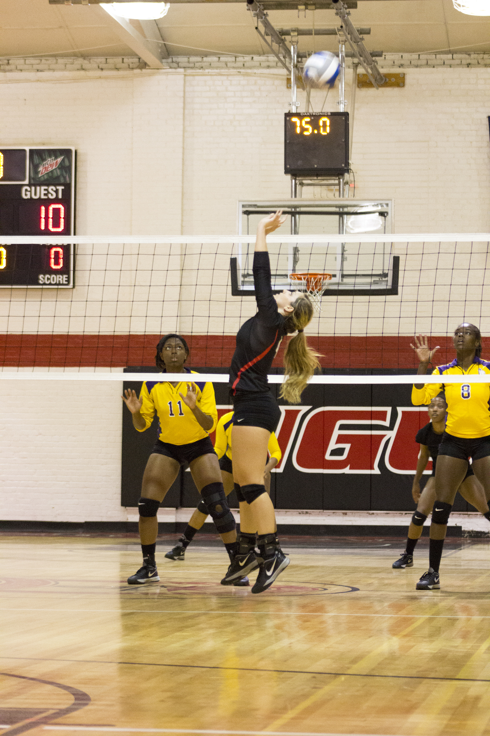 Sophomore Ashlyn Wilkinson jumps up and sets the ball.