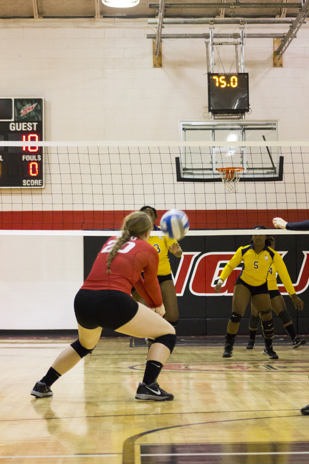 Junior Hannah Lewis goes for a dig on the backside of the court.