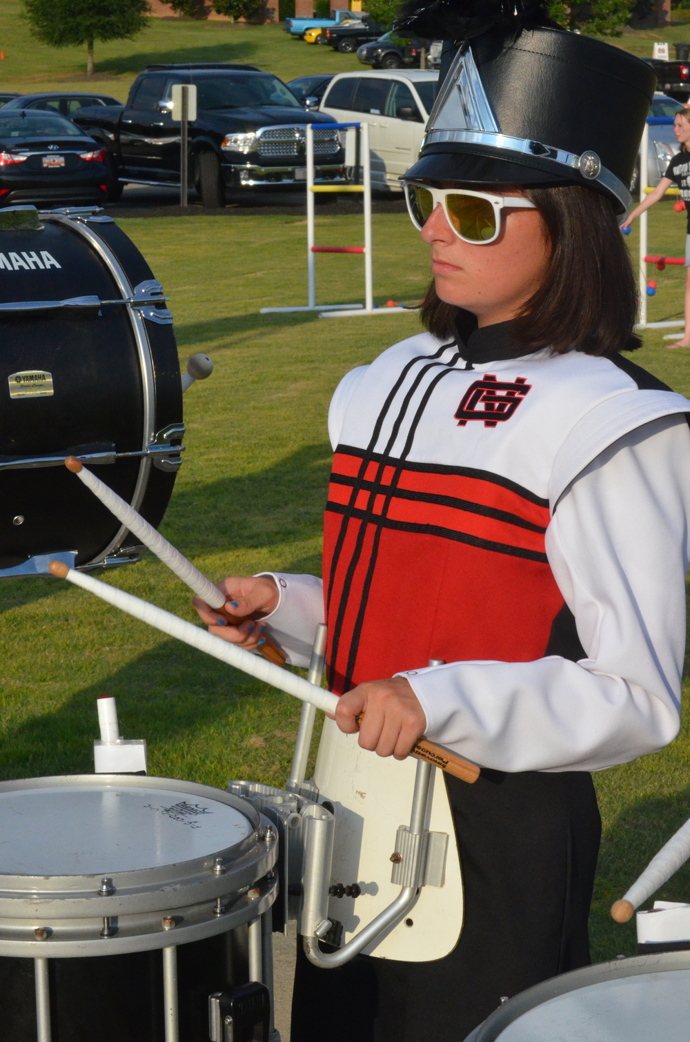 Drummer playing with the band before the start of the game