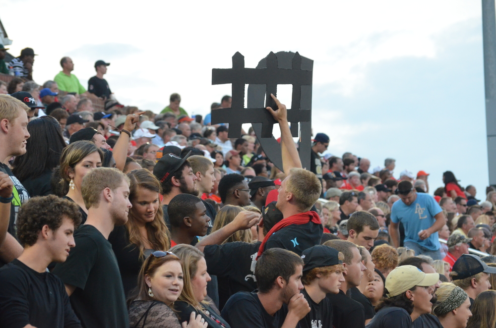 The crowd is ready to cheer on the NGU Crusaders by reminding them what it's all about: Defense