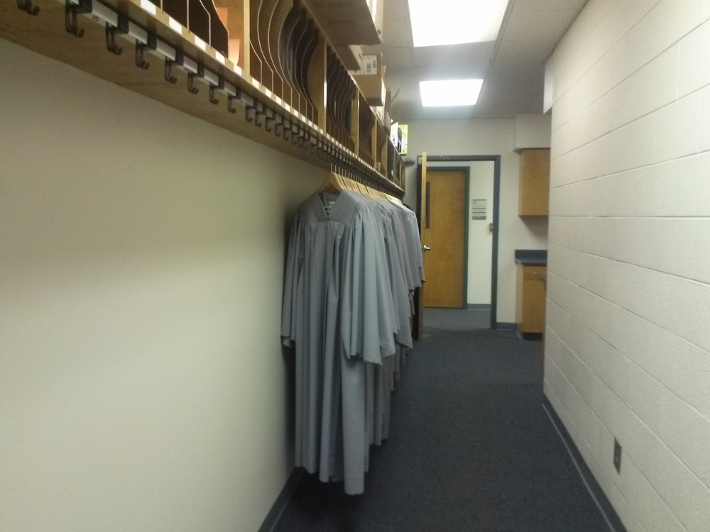 Did you know there is a hallway dedicated to music sheet books and choir gowns in the music department?
