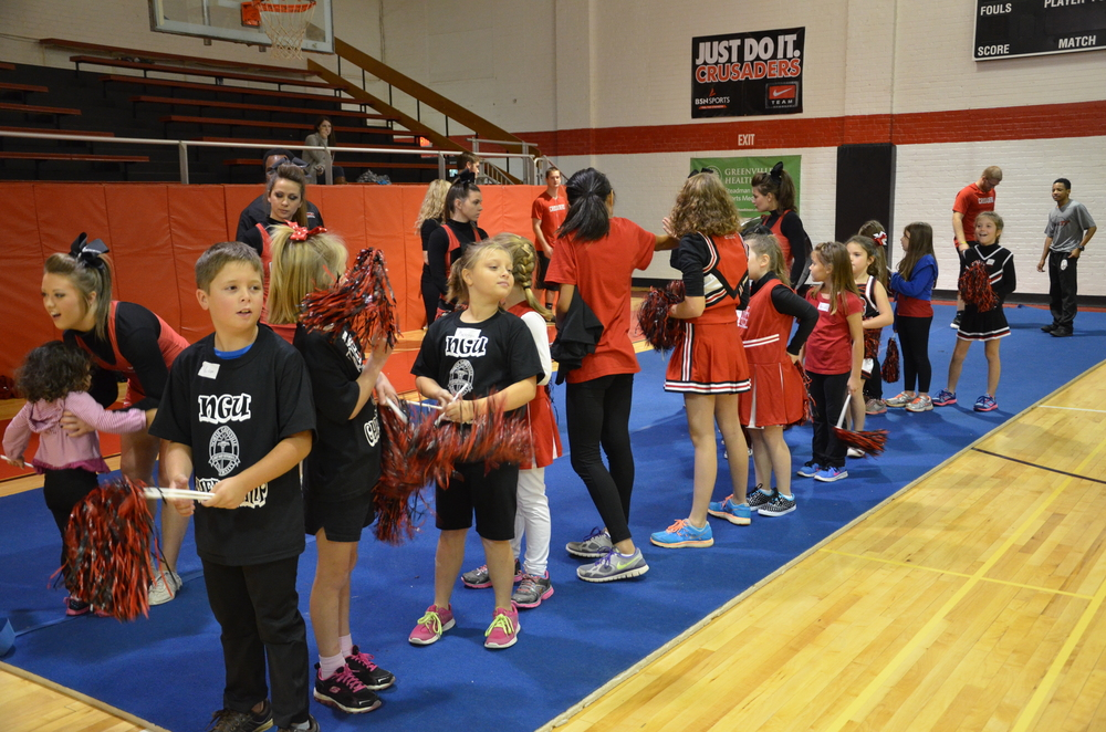 The kids line up to start something new at NGU's cheer camp last weekend.