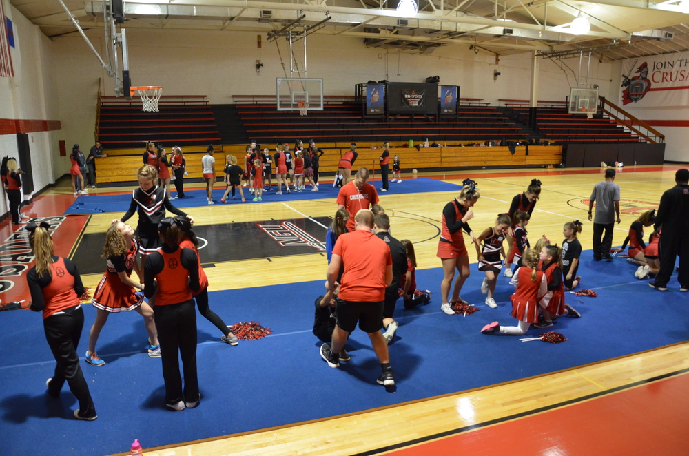A view of the whole gym shows everyone having a great time at the NGU cheer camp last weekend.