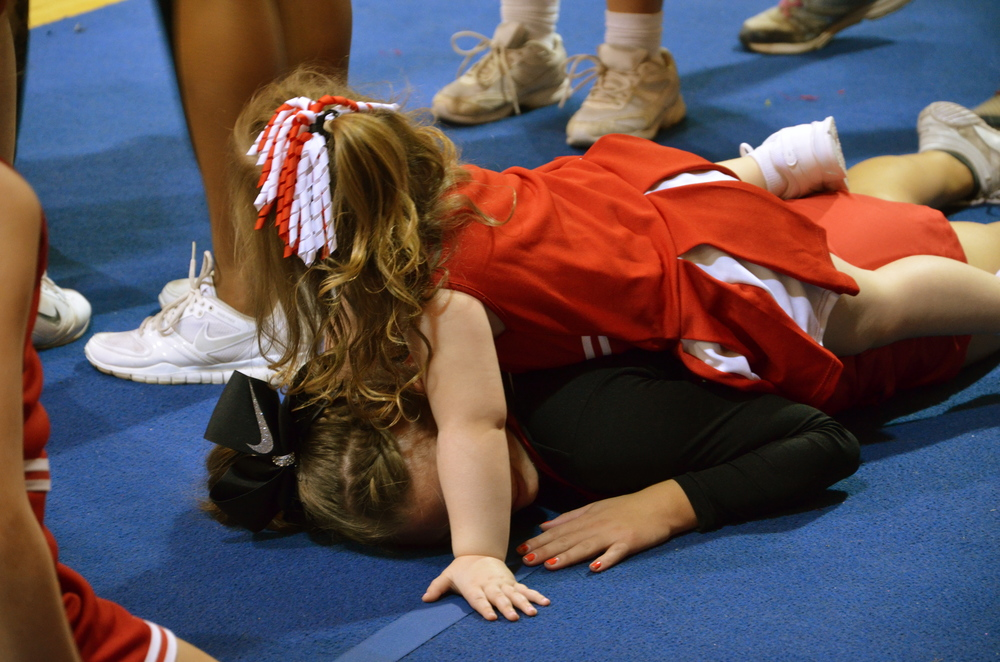 Time for a break after a long morning of games, stunting, and pyramids at NGU's cheer camp Saturday, October 4.