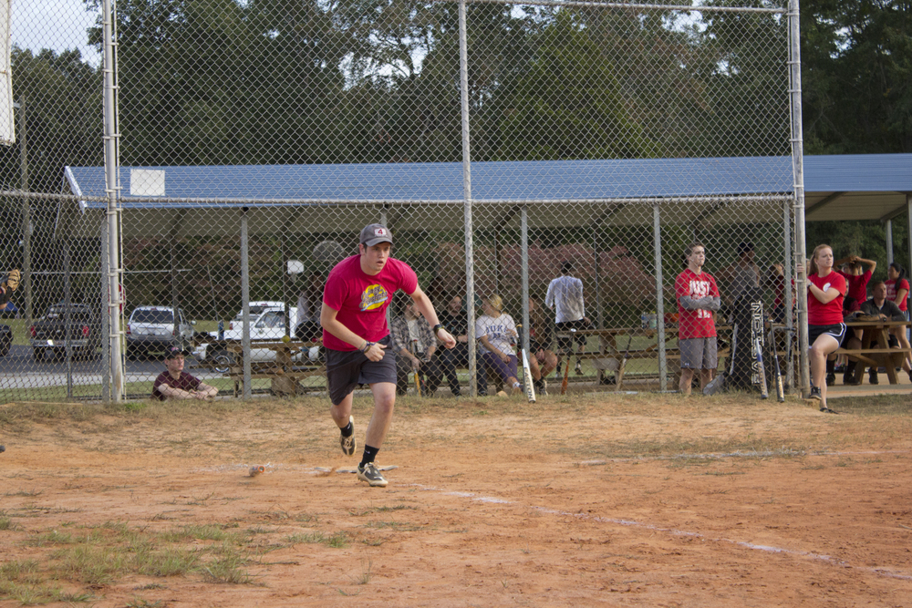 """""""What drove me to join an intramural softball team was the fact that I got to come out and play with some friends. We like the competition and I've played so many years and I really want to win a game."""" -Garth Farmer, senior"""