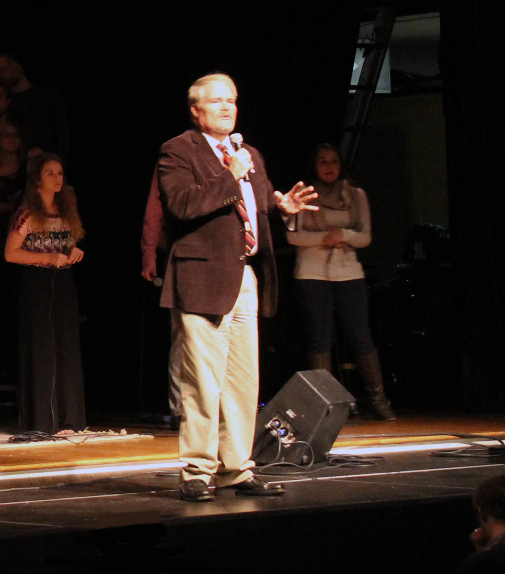 Dr. Tony Beam addresses the North Greenville University student body in Chapel. Photo by Steven Goransky