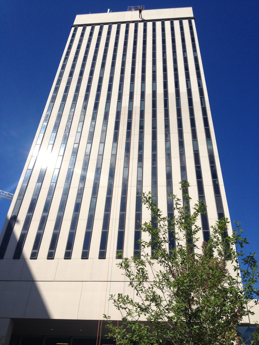 The Bank of America is 228 feet tall and did not block the aggressive wind during the rappel.