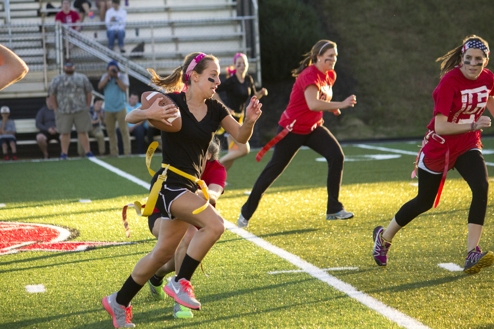 Junior Kacey Beck sprints downfield to score a touchdown.