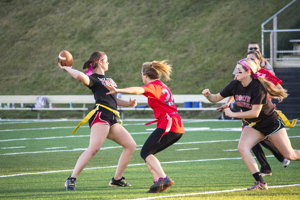 Junior Misty Brockell winds up to throw a pass downfield.