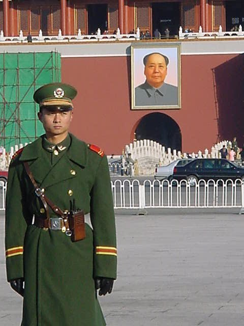 Soldiers stand guard in Tiananmen Square, the site of the 1989 massacre of pro-Democracy protesters in China.